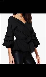 ruffled sleeves wrap top