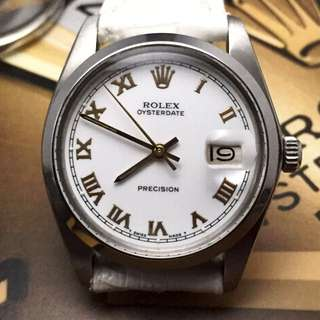 SOLD-      34mm Rolex Oysterdate In White Roman
