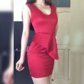 Red Span fit body Dress