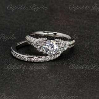 RN203415 Cupid & Psyche Jewellery 戒指 一卡 主石 求婚戒指 鑽戒 18K 鍍鉑金 925silver 蘇聯石 雙拼戒指 拼戒 戒指套裝 高貴 禮物 RING SET