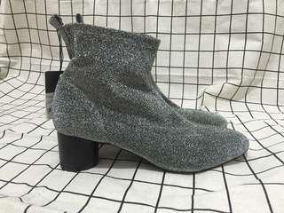 全新 zara39 銀色太空靴子踝靴