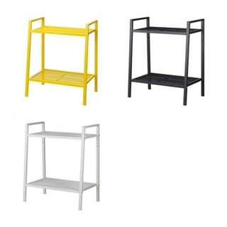 IKEA LERBERG Shelf unit, dark grey/white/yellow