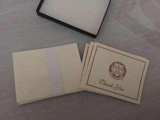 thank you card of Harvard university