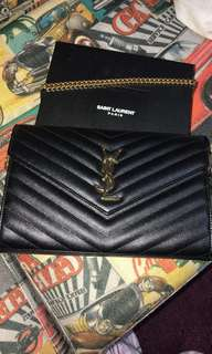 YSL wallet on chain black金鏈