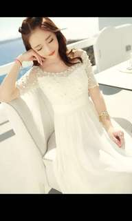 Pearly White Long Dress