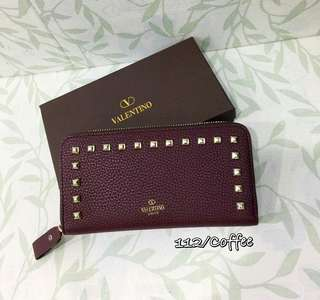 Valentino Zippy Wallet with Studs Coffee Color