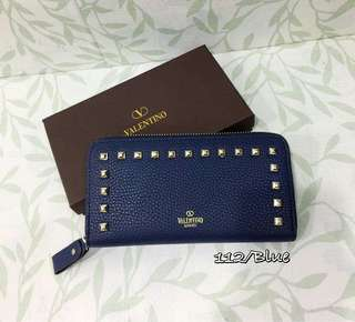 Valentino Zippy Wallet with Studs Blue Color