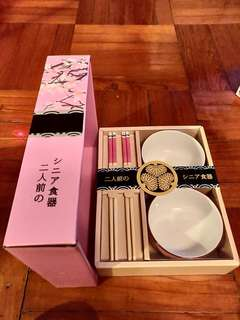 二人餐具套裝 筷子連碗 - 粉紅色