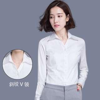 【全新轉賣】5XL長袖襯衫修身型V領大碼白色上衣