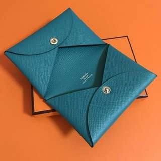 Hermes Calvi Card Holder blue paon Epsom