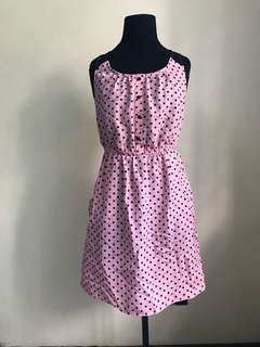 No Boundaries Pink pindot dress