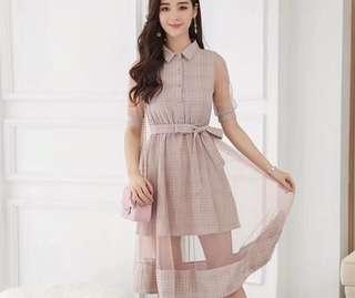 🚚 氣質格紋網紗洋裝