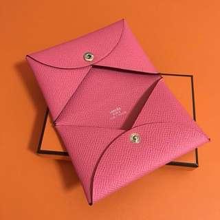 Hermes Calvi Card Holder Rose azalee Epsom