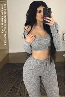 Fashion nova wanderlust set • as seen worn by kylie jenner • gray leggings and crop top hoodie • bestselling