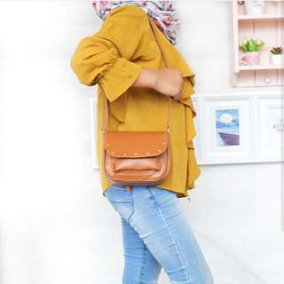 Slingbag Wella Studed Brown Tas Slempang Hits Jaman Now