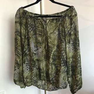 Green reptile blouse