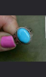 Handmade Genuine American Indian Turquoise Ring - Solid Sterling Silver