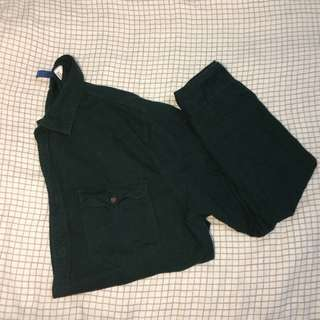 Emerald green button up shirt with pockets H&M divided