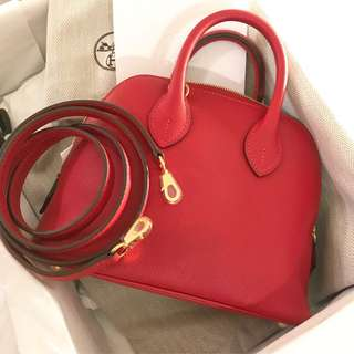 ✨最近超🔥的Hermes mini bolide 🐴蕃茄紅金釦 全新現貨✨