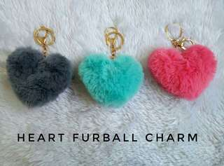 Heart furball bag charm