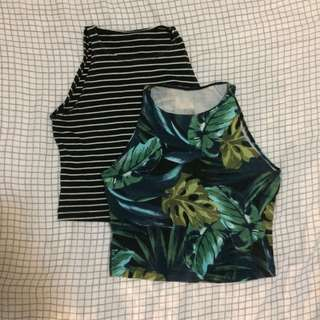 American Apparel Stripe and tropical leaf print tee singlet top shirt crop cropped