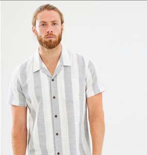 REDUCED! Staple Superior stripe linen grey white shirt