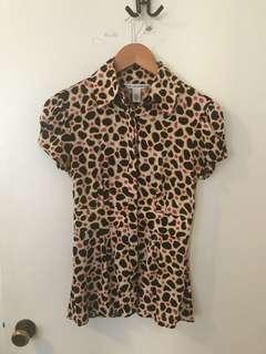 Diane Von Furstenberg patterned shirt, size 2