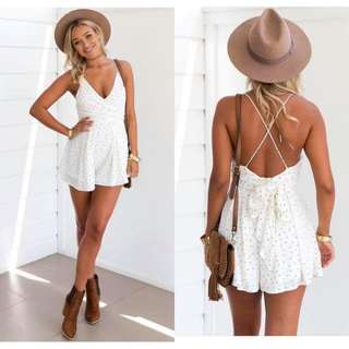 Polka Backless Romper