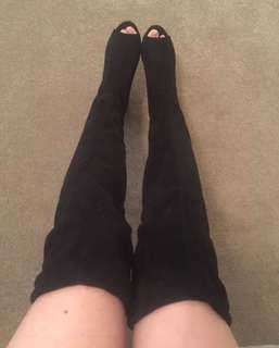 Sexy Black Faux Suede Open Toe Thigh High Block Heel Boots Size 38 7
