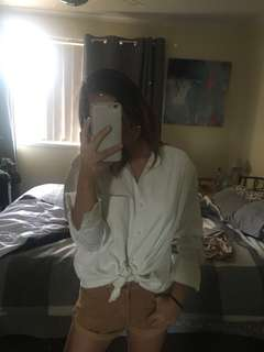Princess Polly - *free postage* white corduroy shirt with trim. Size 6