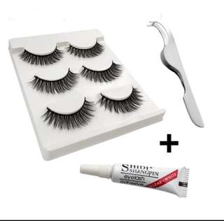 New 3D Mink Lashes With Glue And Tweezer