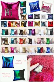 🔊Preorder 10 Colour Vougue Double Colour Reversible  Sequins Mermaid Glitter Sofa Cushion Cover Pillow Case  💲$7/Each  ⛔Items Will Arrived Before Or Few Days After Raya ⚠
