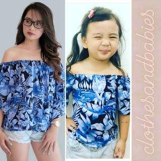 Twinning Clothes: Blue Leaf Top