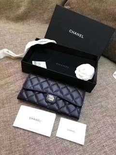 🚚 專櫃正品渠道Chanel 經典耐看牛皮黑金信封式長夾現貨金釦1