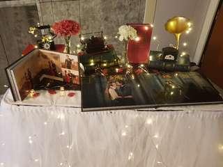 Wedding Photo Album Table Setup