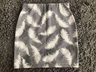 Brand New Pencil Skirt in Feather Prints