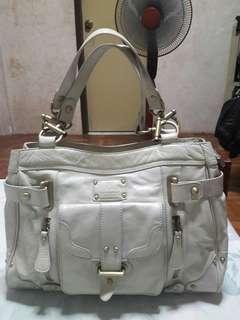 MISSONI Genuine Leather Cream Tote Bag