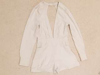 Beige linen like playsuit sz 8