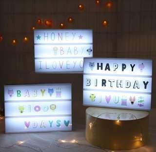 Light Box  colorful fonts