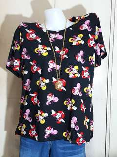 Plus size Mickey mouse blk red tee