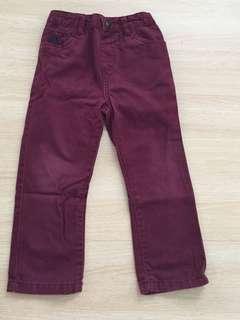 Maroon Straight-cut Pants