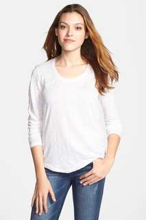 MICHAEL Michael Kors Long Sleeve Linen Tee White XS