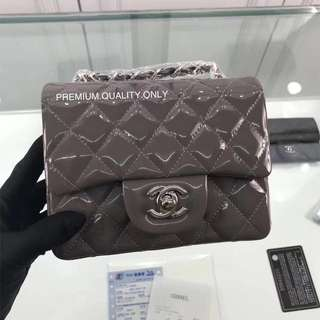 Boutique Quality Chanel mini square Patent Leather - grey