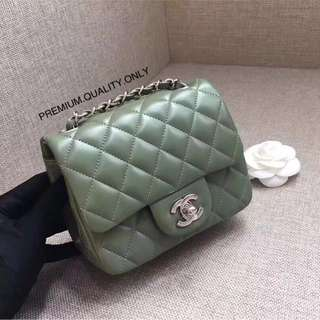 Boutique Quality Chanel mini square lambskin- green
