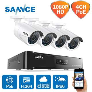 304 (Brand New) SANNCE 4CH 1080P HD POE NVR Video Security Camera System and (4) 1080P Megapixel Weatherproof Bullet IP Cameras,Plug and Play,P2P,100ft Night Vision without HDD