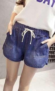 Curve up side short jean elastic comfy plus size denim