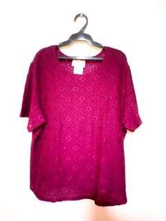 Plus size maroon blouse
