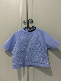 Baby Blue Boxy Crop Top