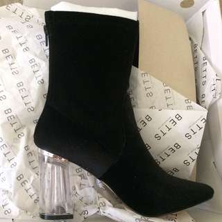Betts Black Boots w/ Chunky Transparent Heels