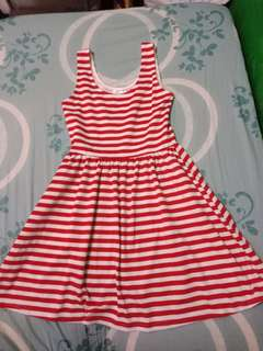 Skater Dress (red and white stripes)